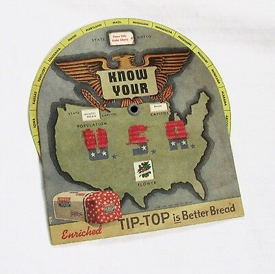 KNOW YOUR USA - Tip-Top Bread Promotional Educational Wheel - 48 States