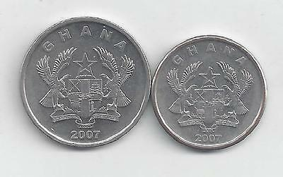 2 DIFFERENT COINS from GHANA - 5 & 10 PESEWAS (BOTH DATING 2007)