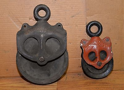 Rare 2 cast iron antique pulley set EU & WC Scoville Manlius NY patented 1877
