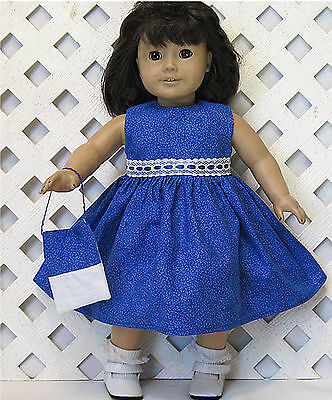 "Handmade DOLL CLOTHES fits 18"" American Girl Doll BLUE FLORAL DRESS"