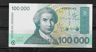 CROATIA #27a 1993 CRISP MINT 100000 DINARA OLD BANKNOTE BILL NOTE PAPER MONEY