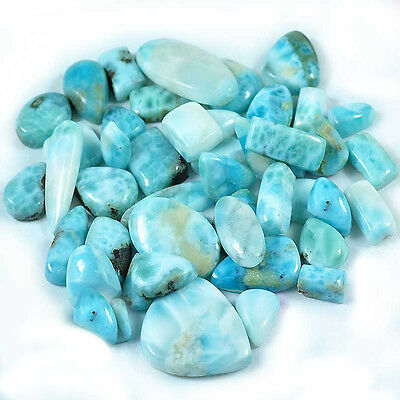 47 Pieces Wholesale Lot Sky Blue Larimar Mix Cabochon 95 grams