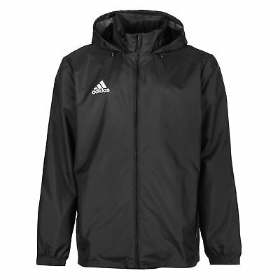 adidas Mens Core Rain Jacket Top Coat High Neck Full Zip Hooded