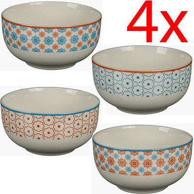 Set Of 4 Mexican Cereal Bowls Breakfast Kitchen Snacks Stoneware Treats Food New