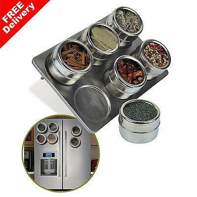 6 Pieces Magnetic Stainless Steel Spice/Herb Rack - Tin Jar Storage/Holder/Stand