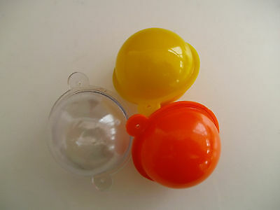 SET OF 3 ROUND  BUBBLE FLOATS 40mm  ASSORTED COLOURS - CLEAR / ORANGE / YELLOW