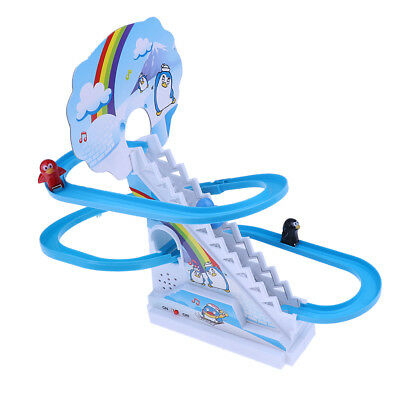 Penguin Climb Stairs Sliding Track Puzzle Electric Race Track Toy with Music