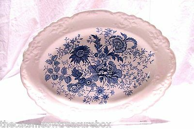 """Taylor and Smith Center Bouquet Blue Garland Serving Platter 11.5"""""""
