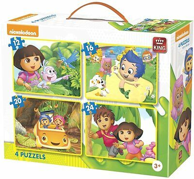 4 In 1 Childrens Cartoon Dora Diego Umizoomi Bubble Guppies Jigsaw Puzzle 05238