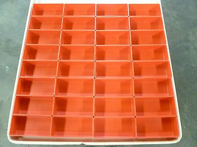 "32- 3""x6""x2"" Deep Red Plastic Boxes fit Lista Vidmar Toolbox Organizers Dividers"