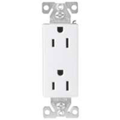 Tamper Resistant Duplex Receptacle, 125 V, 15 A, 2 Pole, 3 Wire, White Satin