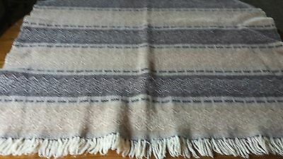 "Vintage Amana Products 100% Wool Rug Throw Woven 36"" X 38"" + Fringe"