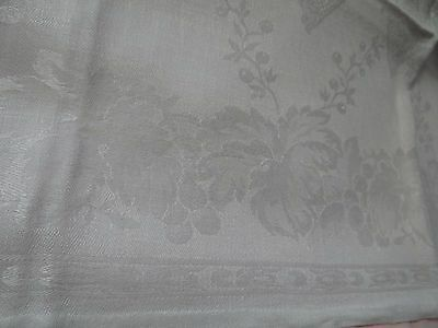 "Set of 12 Vintage French Linen Damask Napkins 27""x 24  /  Bunches of Grapes"