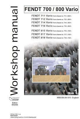 Fendt Vario 800  715 717 718 Basic Training Workshop Manual Printed