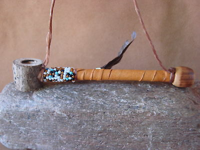 Native American Navajo Indian Handmade & Beaded Antler Peace Pipe ART351