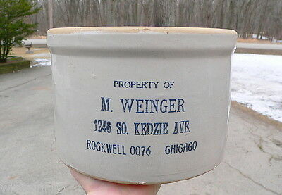 Chicago Illinois Advertising Western Monmouth Stoneware Butter Crock