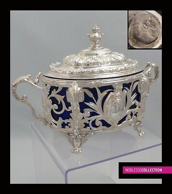 LUXURIOUS ANTIQUE 1900s FRENCH OPENWORK STERLING SILVER SUGAR BOWL Rococo style