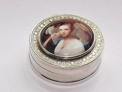 Delightful Vintage Solid Silver & Enamel Pill Box Picture Top Birmingham Import