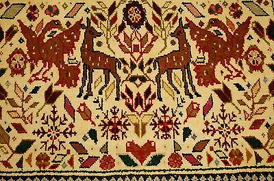 Circa 1930s ANTIQUE ANIMAL SUBJECTS CAUCASIAN RUG 2x3 ALL WOOL_LOWEST PRICES
