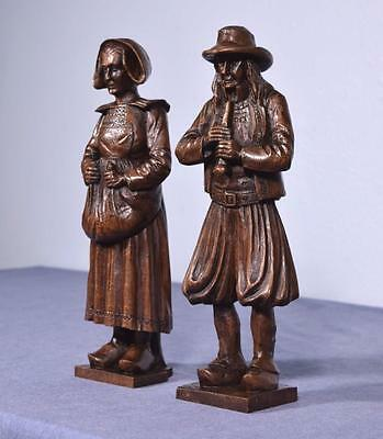 """*13"""" Pair of French Antique Hand Carved Breton Chestnut Figures"""