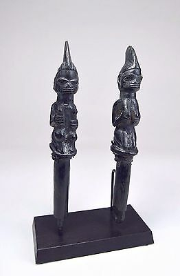 Rare pair of Old Eshu Dance Wands Ex Moses Asch Collection, African Art