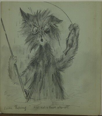 """Pencil drawing """"And not a trout after all"""" 1911 follower of Louis Wain"""