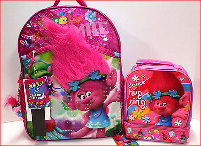 """TROLLS 16"""" Large BACKPACK + Dual Compartment LUNCH BOX - Real HAIR POPPY - PINK"""