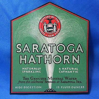 1935 Original Vintage SARATOGA Spa HATHORN Mineral Water Soda Bottle Label