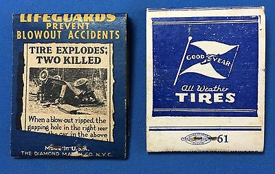 2 1940s Vintage GOODYEAR TIRES AUTO ACCIDENT Wreck Full Advertising Matchbook