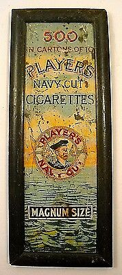 Vintage Player's Navy Cut Cigarettes Tin Sign In Old Wood Frame