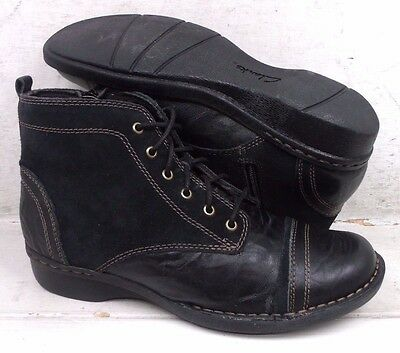 Clarks Womens Whistle Watch Black Leather Ankle Boots Shoes 04715 size 8 M