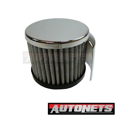 """CHROME WASHABLE VALVE COVER BREATHER PUSH IN STYLE OPEN 1 1//4/"""" HOLE SHORT #7192"""