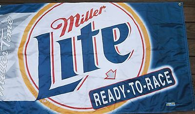 """1998 LARGE 60""""x34"""" MILLER LITE BEER RACING HANGING BANNER  READY TO RACE"""