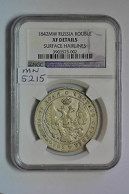 mw5215 Poland under Russia; Silver Rouble 1842 MW - Warsaw Mint  NGC  XF Details