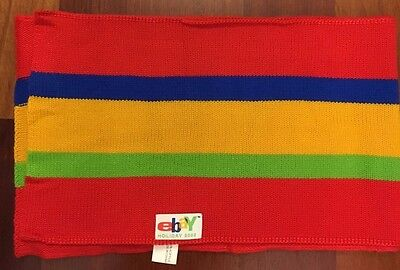 eBay Knit Scarf 2002 eBay Employee Gift Red Blue Yellow Green