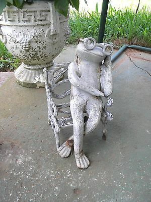 Vintage Cast Iron Frog With Glasses Sitting on Chair Sleeping Bench