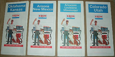 Four Vintage 1978 Exxon Gas Road Maps - Western / Southern US States Road Guide