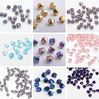 100pcs 6mm Twist Helix Crystal Glass Faceted Loose Spacer Beads Jewelry Making