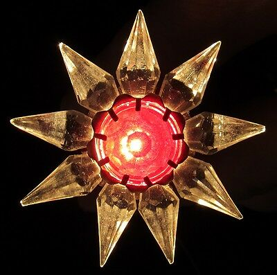 WORKING 1930s C6 MATCHLESS WONDER STAR CHRISTMAS LIGHT~SINGLE ROW~CRYSTAL/RED