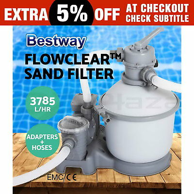 1000GPH Bestway Flowclear™ Sand Filter Swimming Above Ground Pool Cleaning Pump