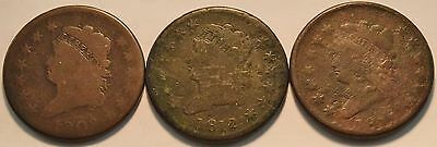 Lot of (3) Classic Head Large Cents, 1808, 1812, 1813, Scarce Type, Penny 1C