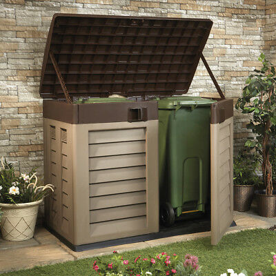 Large Weatherproof Outdoor Garden Storage Shed and Bin Store Lockable Lid