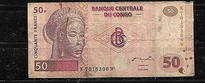 CONGO #91a VG CIRC 2000 50 FRANCS  BANKNOTE PAPER MONEY CURRENCY BILL NOTE