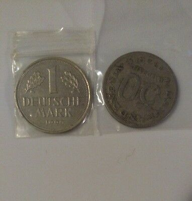 1990 1 mark Coin & 1971 50 Rupiah * India * Germany * Coin Lot of 2