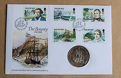 Mutiny On The Bounty 200Th Anniv. 1989 Isle Of Man Fdc + Isle Man Crown Coin