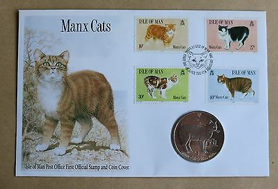 Manx Cats 1989 Isle Of Man Fdc + Isle Of Man Manx Cat Crown Coin