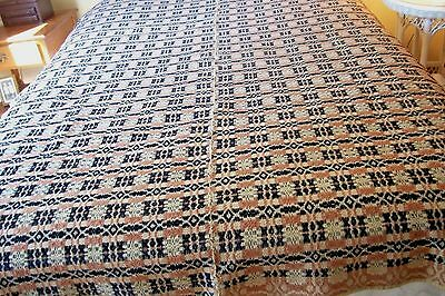 """Antique Overshot coverlet  63"""" x 77"""" unknown pattern 3 colors"""