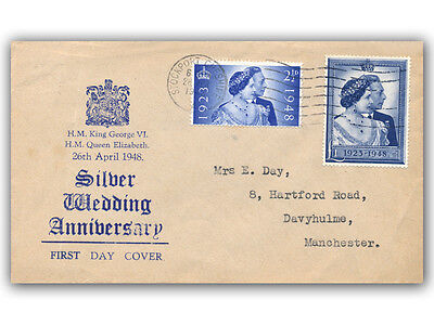 1948 Silver Wedding FDC Stockport Slogan