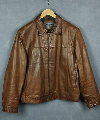 AVIATRIX Men's Brown Real Leather Shell Zipped Jacket [SIZE XXX LARGE]