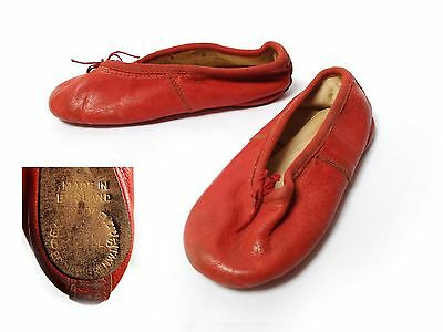 Vintage 1960s CHILDS LEATHER BALLET RED SHOES Ballerina Slipper Made in England